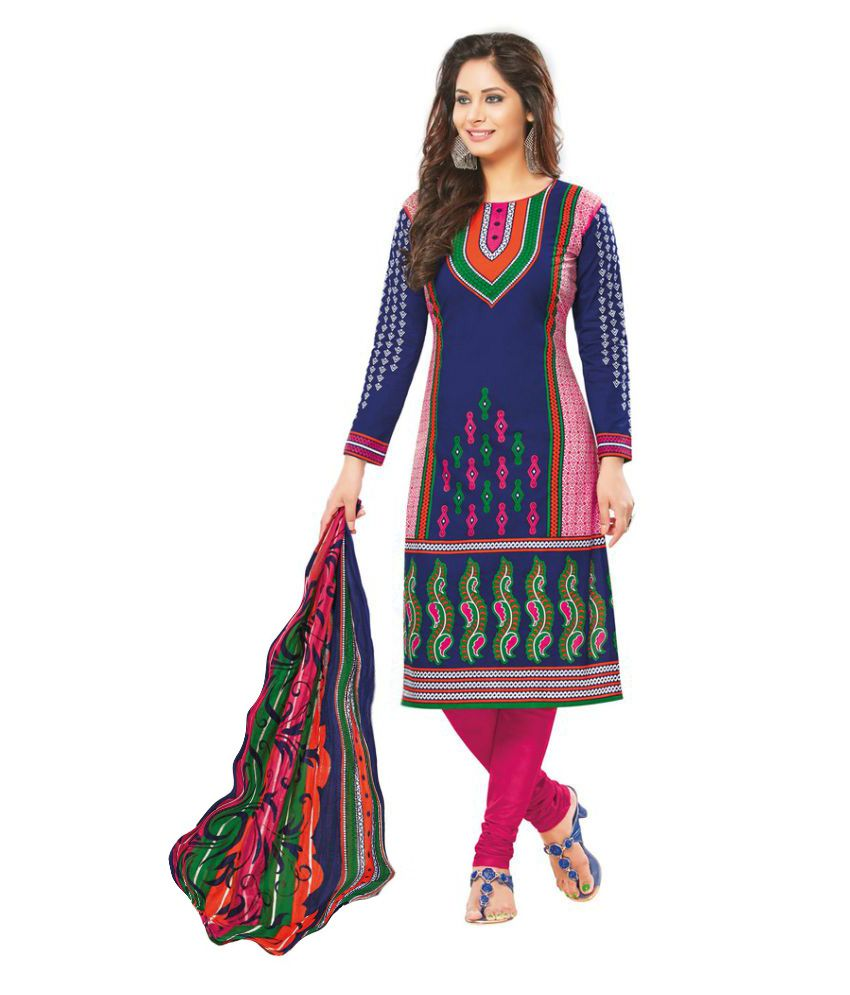 Salwar House Multicoloured Cotton Dress Material