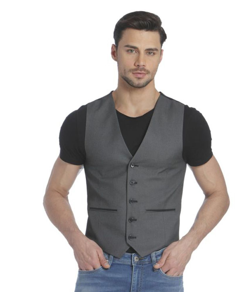 Jack & Jones Grey Solid Casual Waistcoats