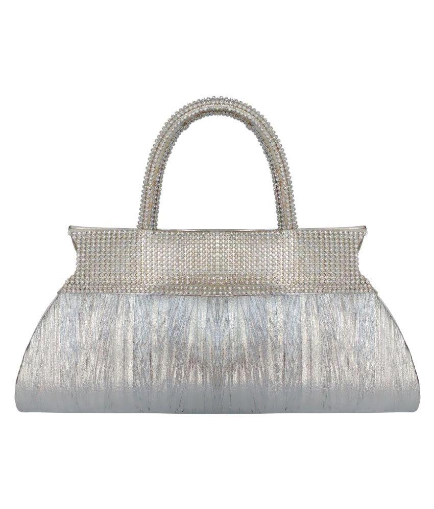 Feliza Silver Fabric Clutch