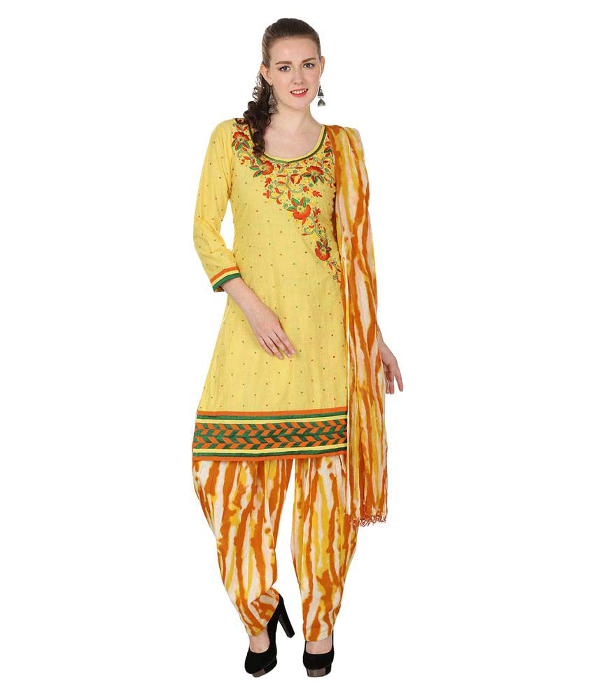 Maahi Yellow Cotton Straight Stitched Suit