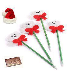 Ghasitaram Gifts Set Of 4 Snow Teddy Pens With Christmas Chocolate Bar