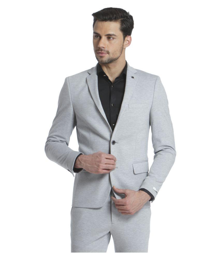 Jack & Jones Grey Solid Formal Blazers Single