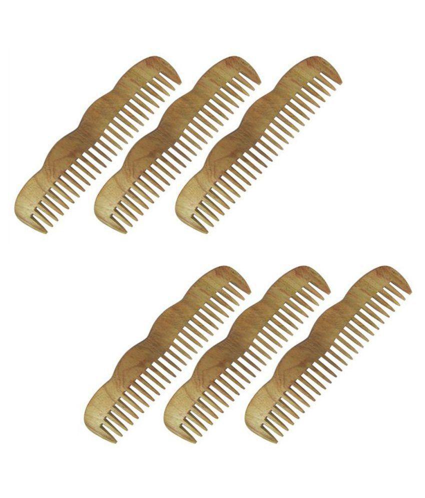 Prakrita Wide tooth Comb Pack of 6