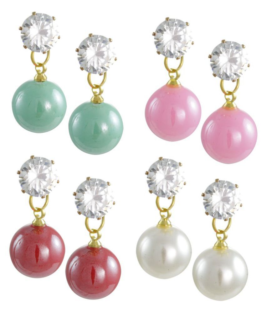 Zaveri Pearls Multicolor Drop Earrings - Pair of 4