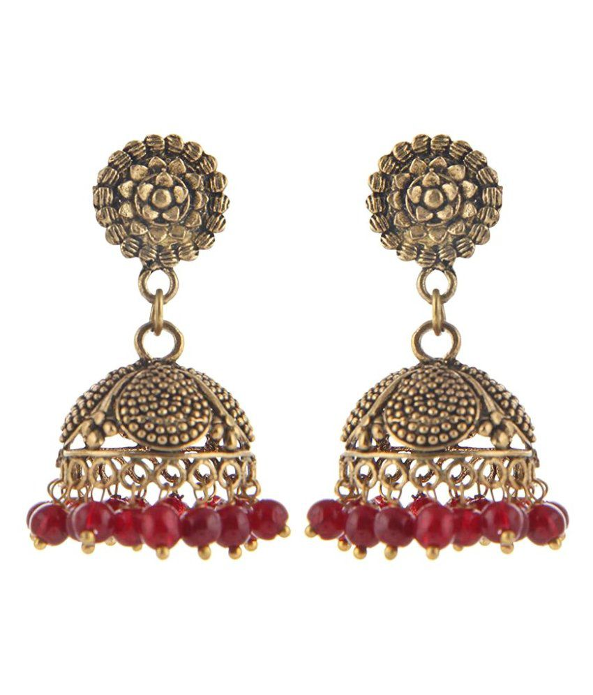 Urbanela DesignerJhumki Earring with Maroon Beads