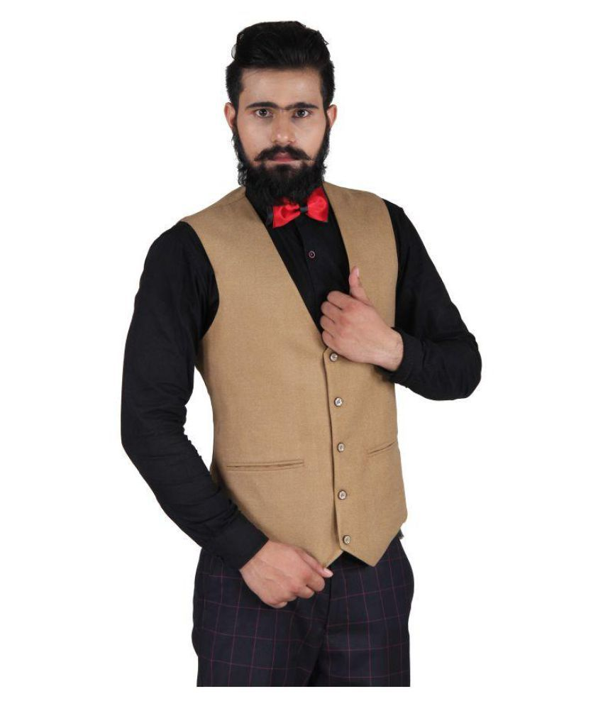 Blackthread Khaki Solid Wedding Waistcoats