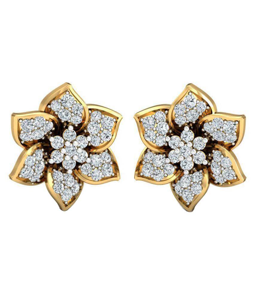 Samaira Gems & Jewels 14k Bis Hallmarked Gold Swarovski Studs at snapdeal