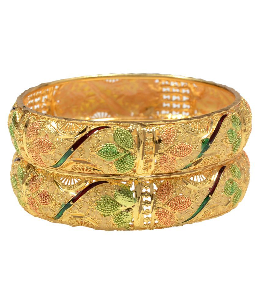 Mansiyaorange Golden Brass Designer Bangle (Set of 2)