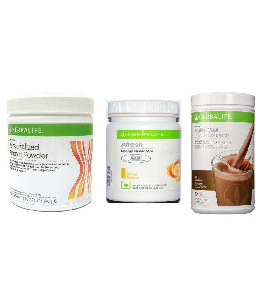 Herbalife Formula 1 Shake 500g Dutch Chocolate,Personalized Protein Powder 240 gm & Afresh Energy Drink 50g Ginger Flavour Powder