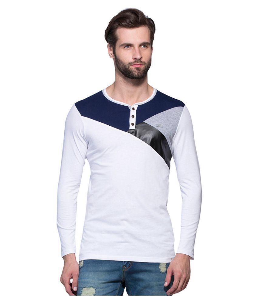 Maniac White Henley T-Shirt