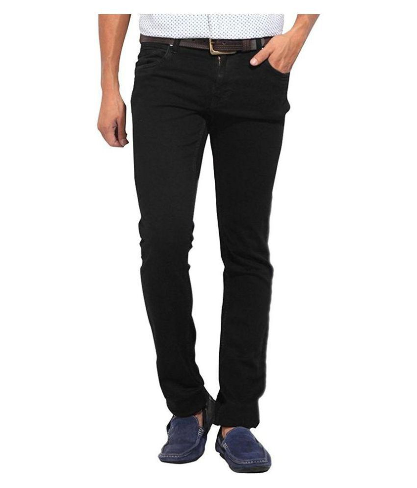 Thinline Black Regular Fit Solid Jeans