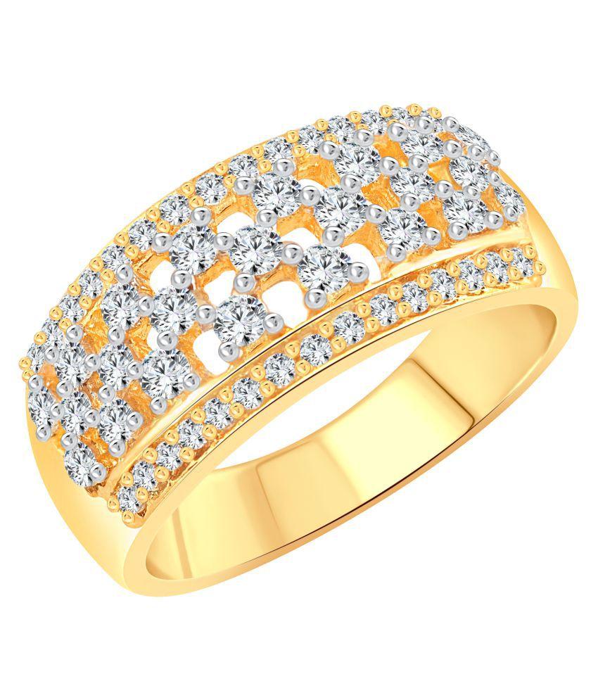 Vighnaharta Bridal Shine CZ Gold and Rhodium Plated Ring