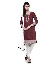 Black Beauty Red Cotton Straight Stitched Suit