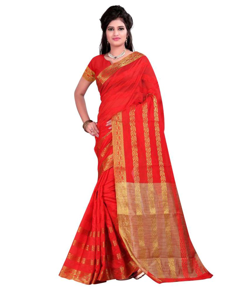 Just Fashion Red and Orange Art Silk Saree