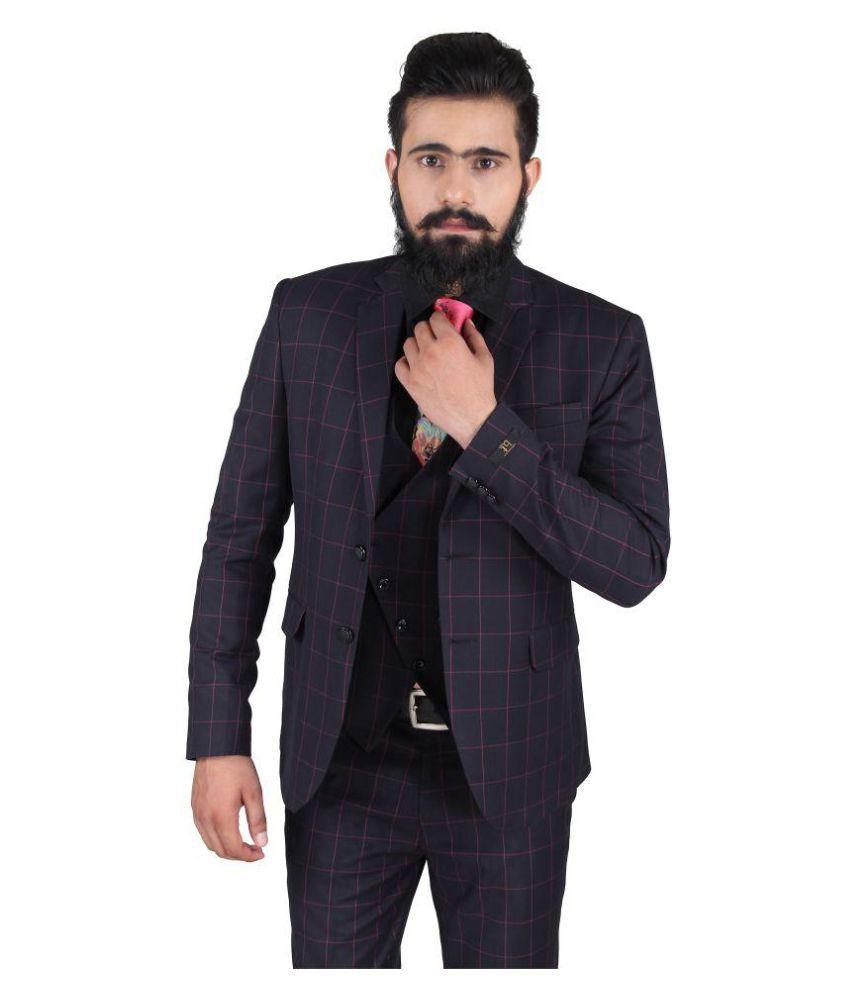 Blackthread Blue Checks Wedding 3 Piece Suits