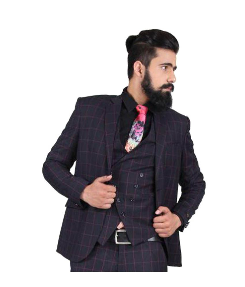 Blackthread Blue Checks Wedding 3 Piece Suits - Buy Blackthread ...
