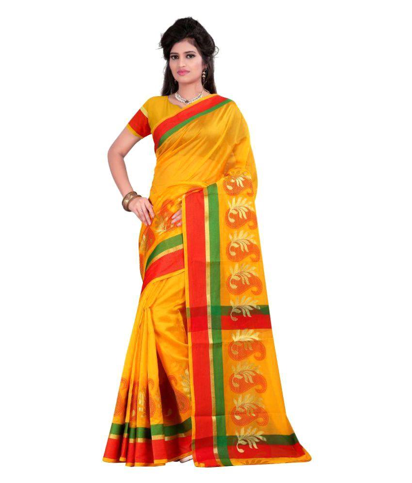 Just Fashion Yellow Banarasi Silk Saree