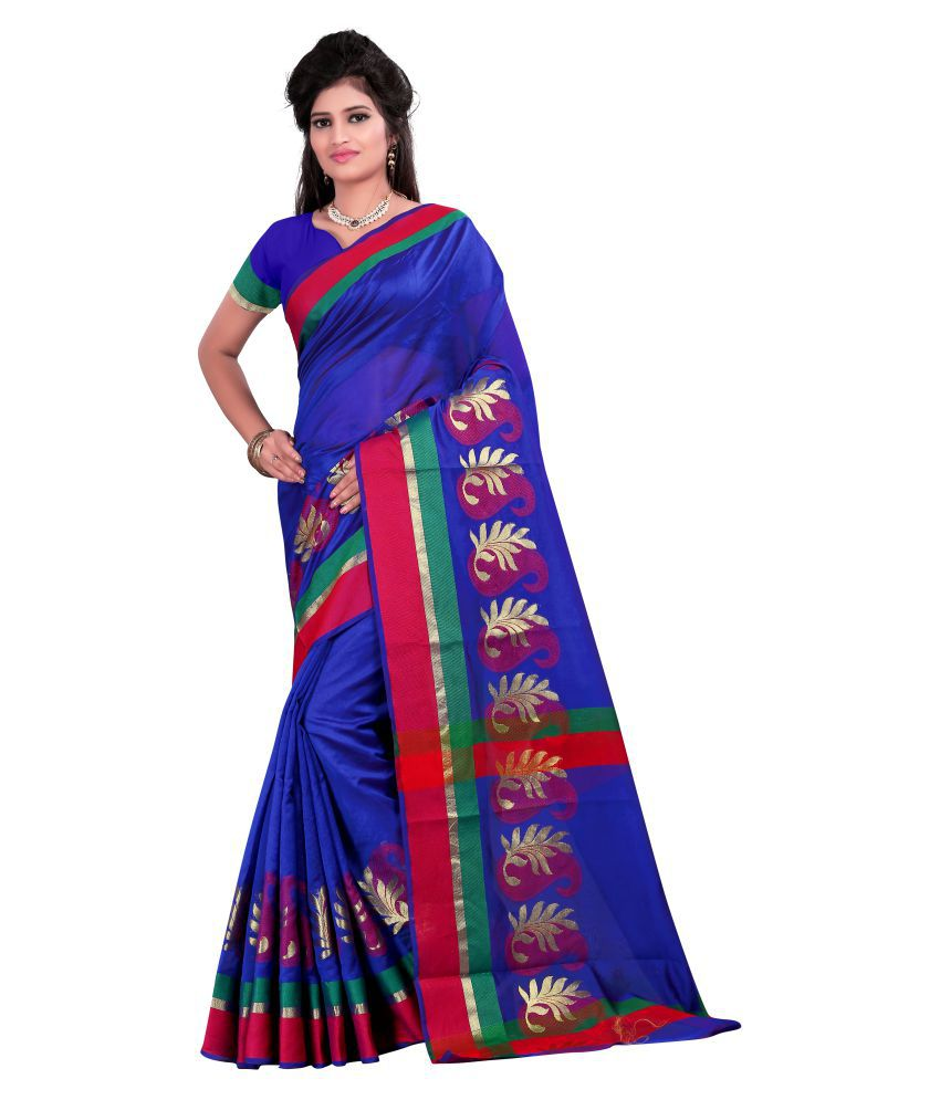 ffe2ff5802c Just Fashion Blue Banarasi Silk Saree available at SnapDeal for Rs.803