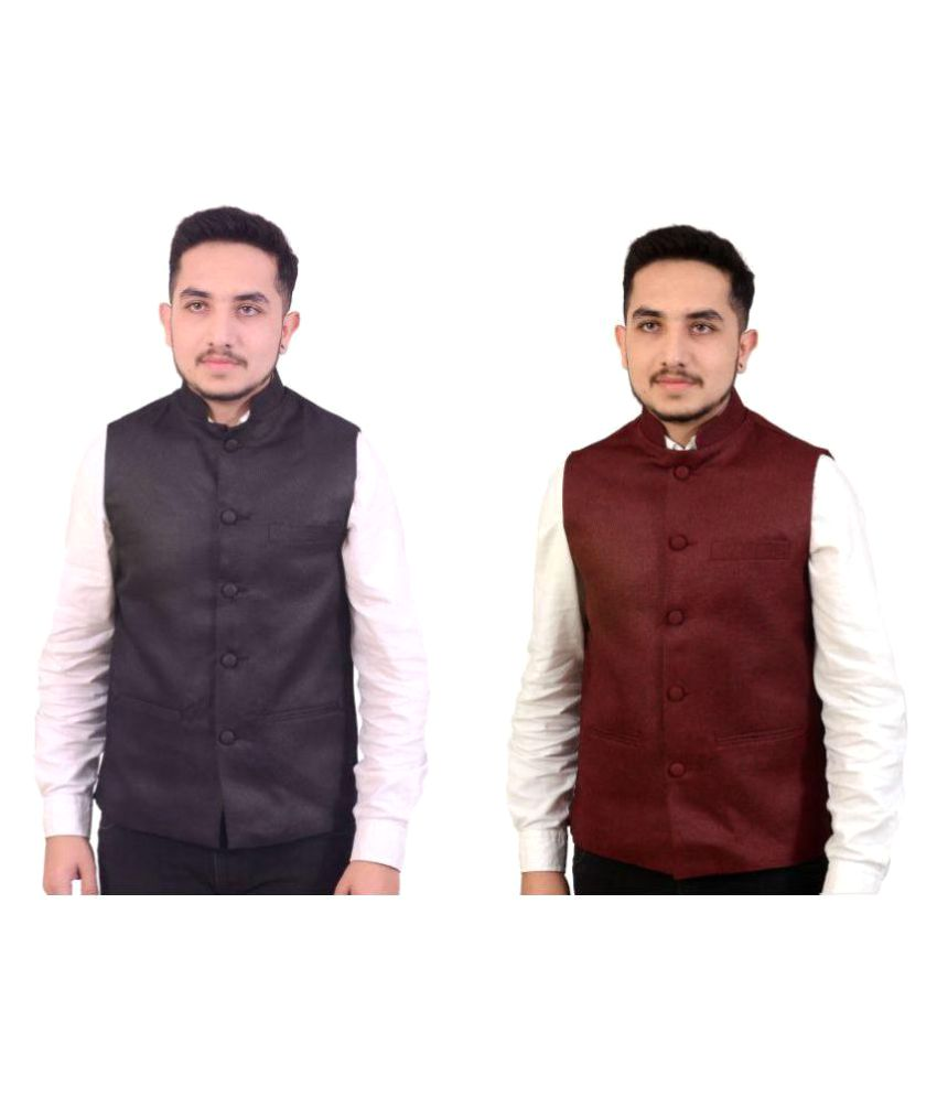 Fashion N Style Multi Solid Formal Waistcoats Pack of 2