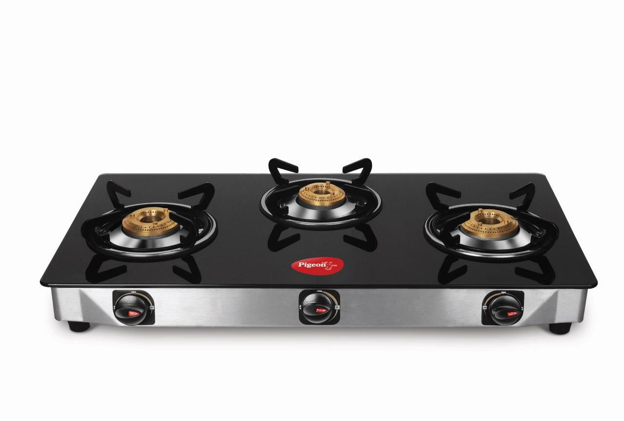 pigeon smart 3 burner glass top gas stove available at snapdeal for. Black Bedroom Furniture Sets. Home Design Ideas