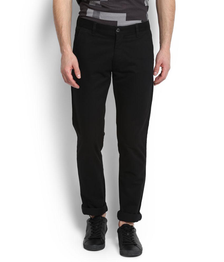 Arrow Sports Black Slim Flat Trousers
