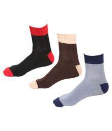 Indiweaves Multicolour Mens Cotton Socks - Pack Of 3
