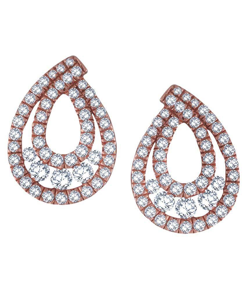 Nirvana 14k BIS Hallmarked Rose Gold Diamond Studs