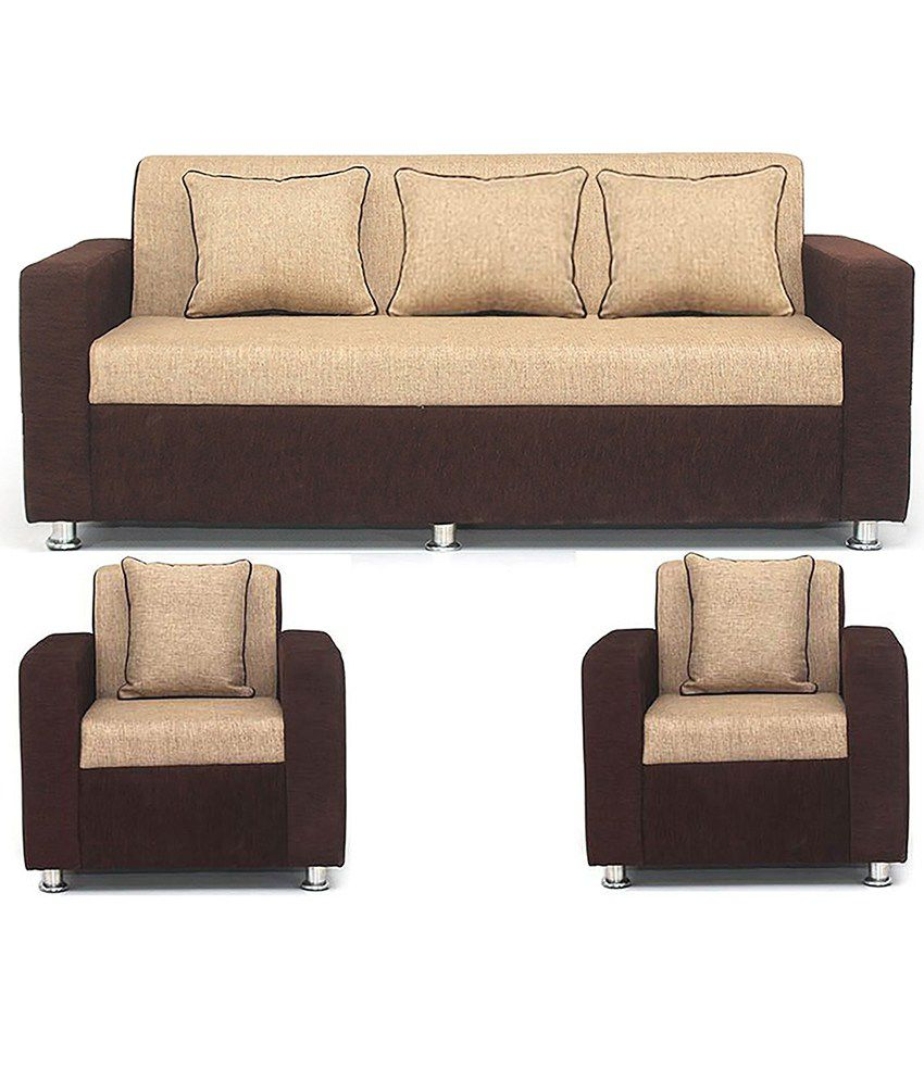 Bls tulip brown cream 3 1 1 seater sofa set buy bls for Drawing room furniture set