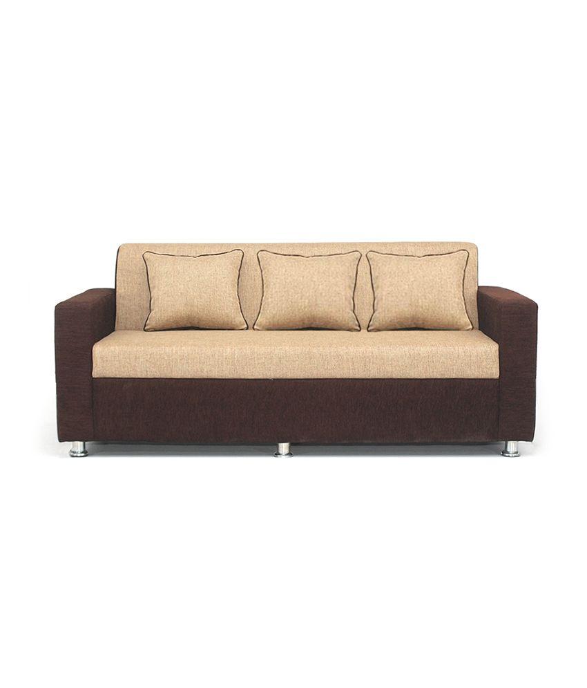 BLS Tulip Brown & Cream 3+1+1 Seater Sofa