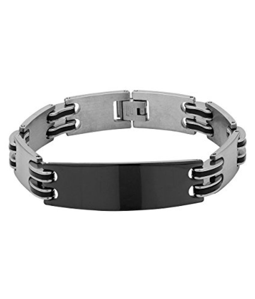 Voylla Black & Silver Plated Designer Band Bracelet For Men  available at snapdeal for Rs.649