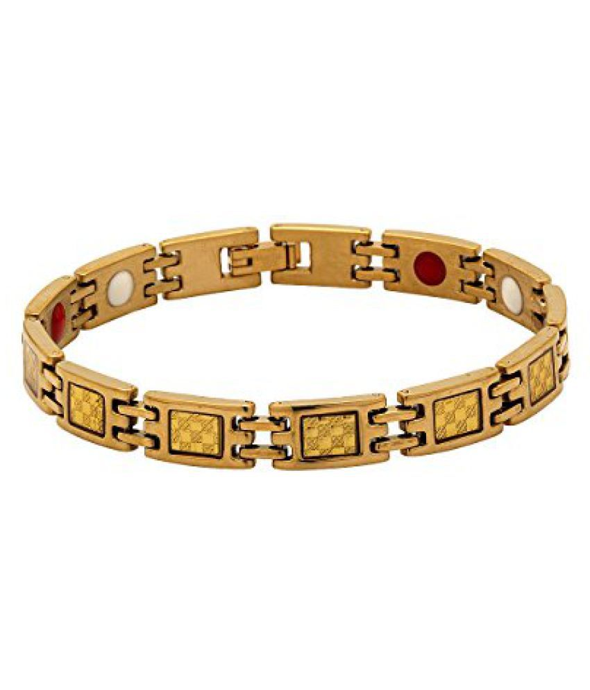 Voylla Classy Designer Golden Band Bracelet For Men
