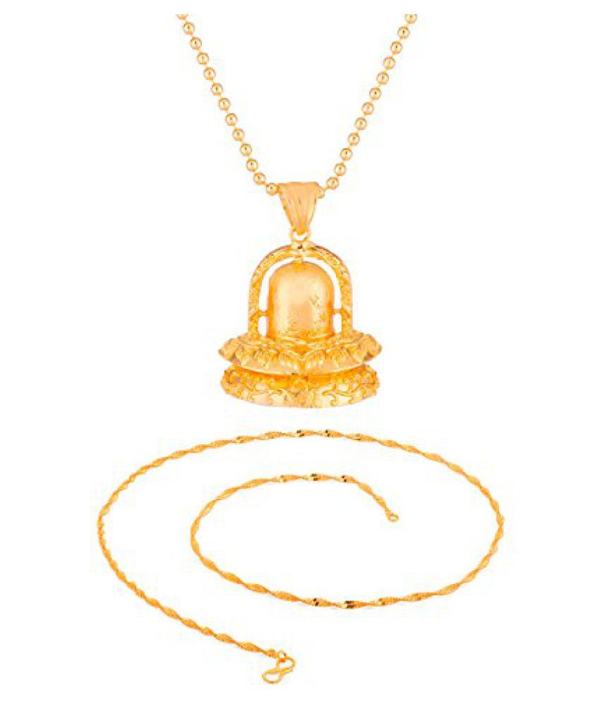 Voylla Combo of Gold Toned Chain & Pendant With Chain