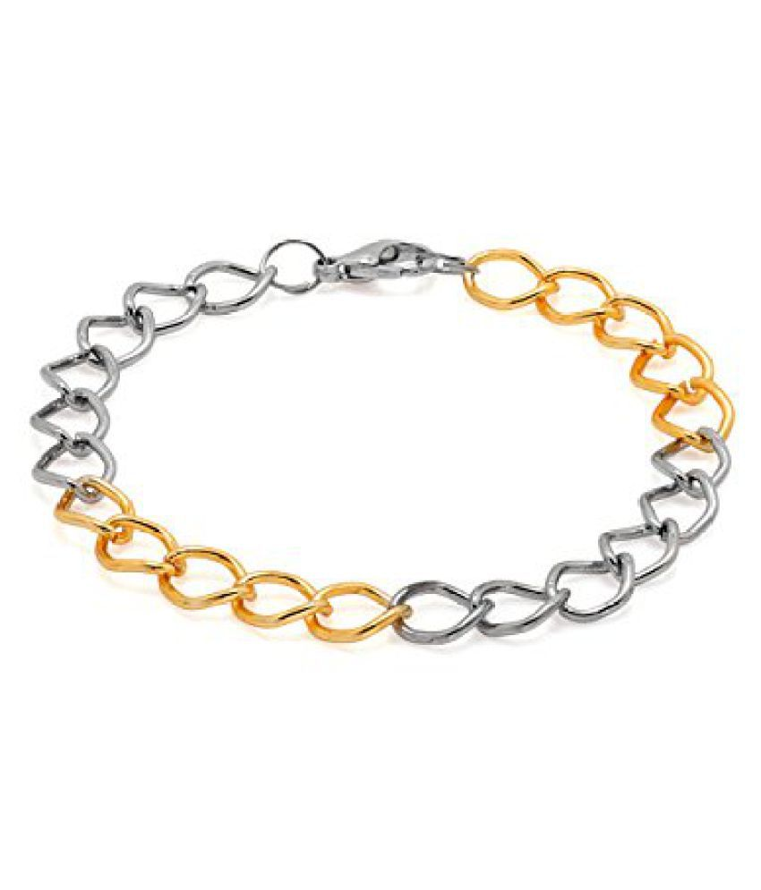 Voylla Dual Tone Bracelet With Geometric Accents