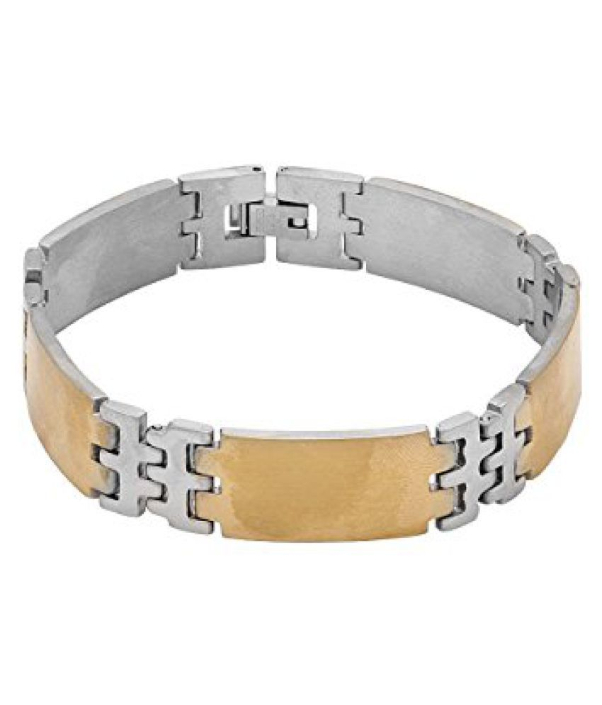 Voylla Golden and Silver Plated Designer Mens Bracelet
