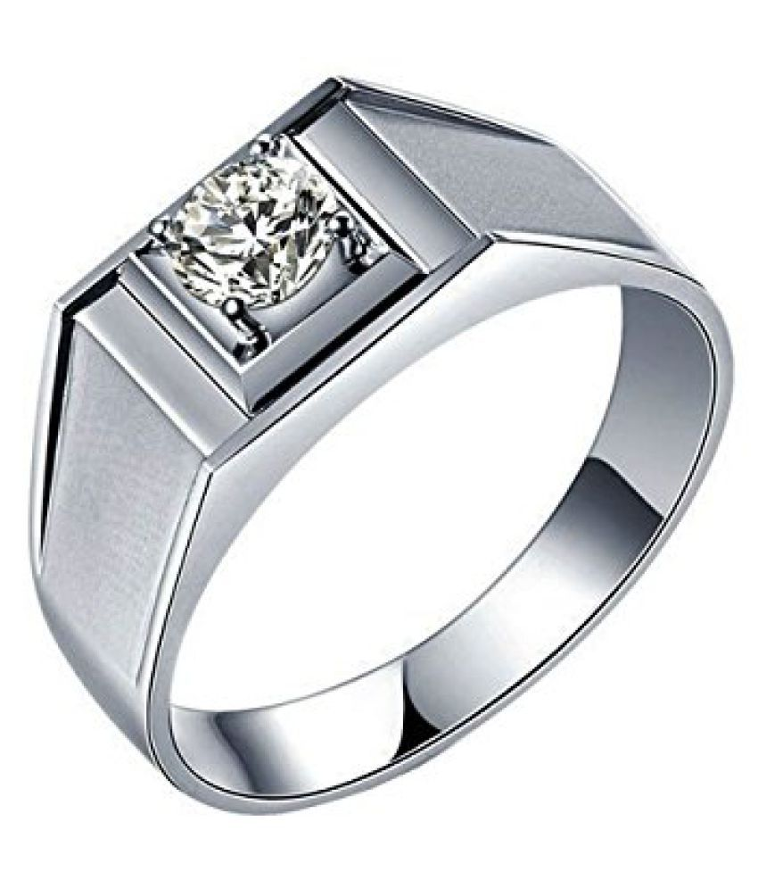 Voylla Sterling Silver Classy Mens Ring With Diamond Embellishments, Size 20.0