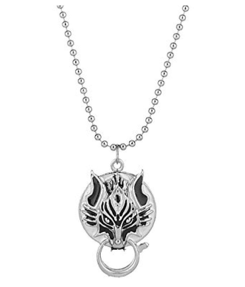 Voylla Trendy White Enamel Men's Silver Chain Pendant
