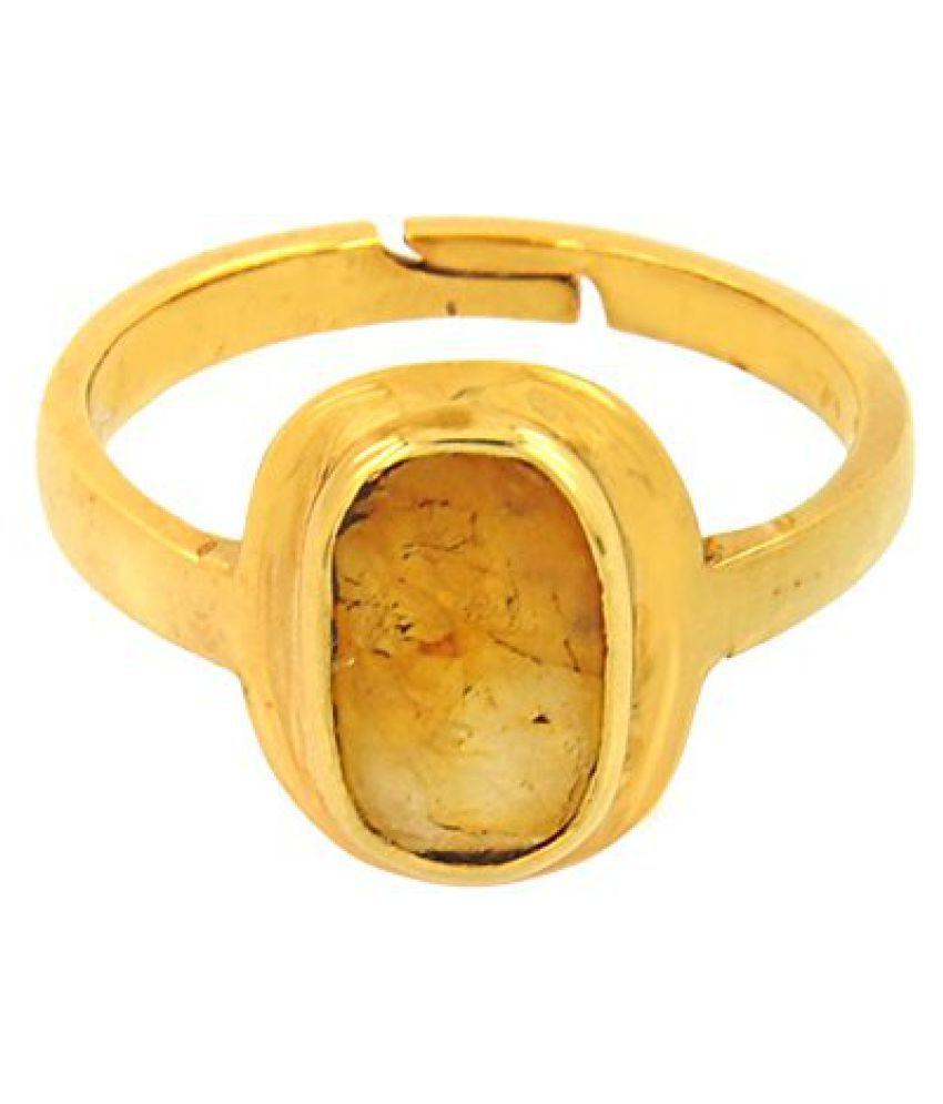 Barishh Men's Adjustable Gemstone Ring Yellow Sapphire 6.25 Ratti