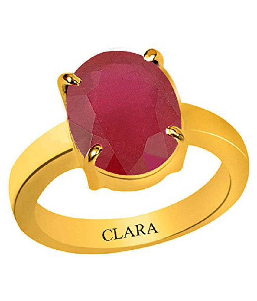 Clara Certified Ruby Manik 8.3 carat or 9.25ratti Panchdhatu Gold Plating Astrological Ring For Men & Women