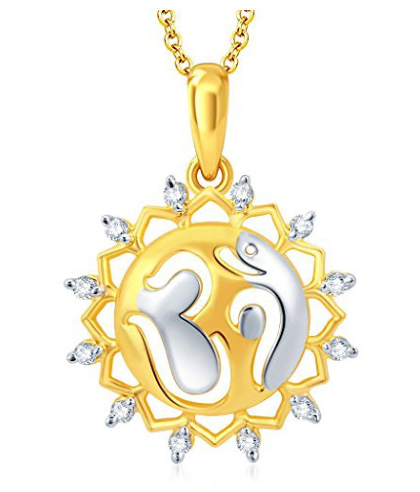 Sukkhi Fascinating Gold And Rhodium Plated CZ Om God Pendant With Chain for Unisex
