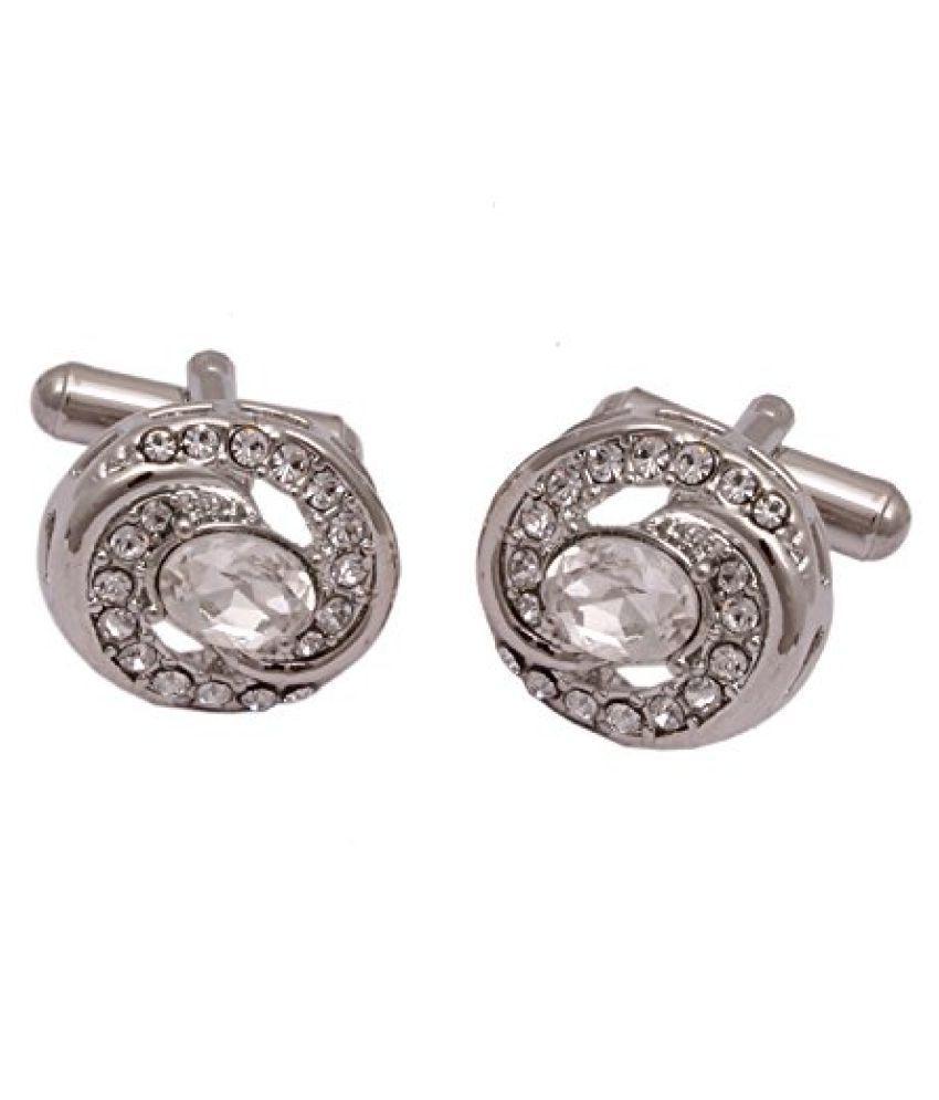 Sushito Classic Designer Silver Stone Studded Cufflink