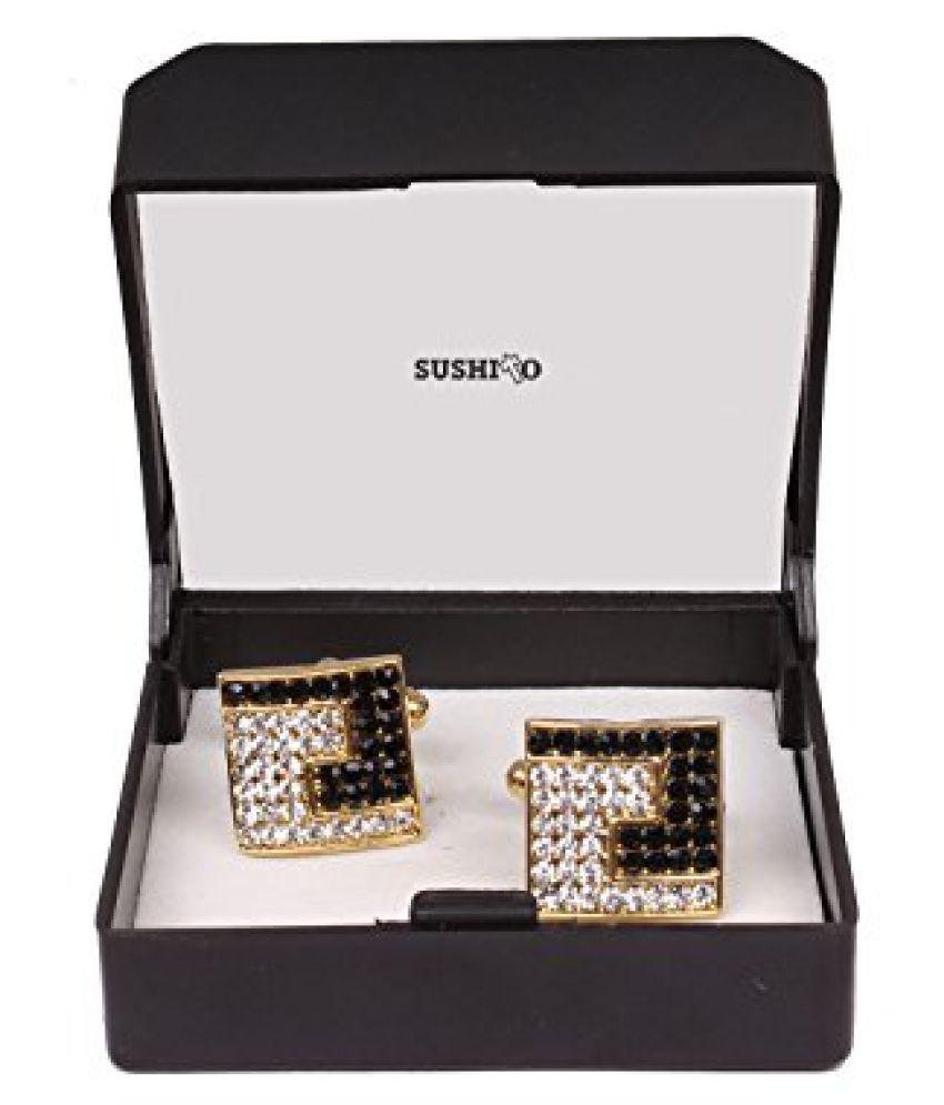 Sushito Multi Stones Squaare Golden Cufflink