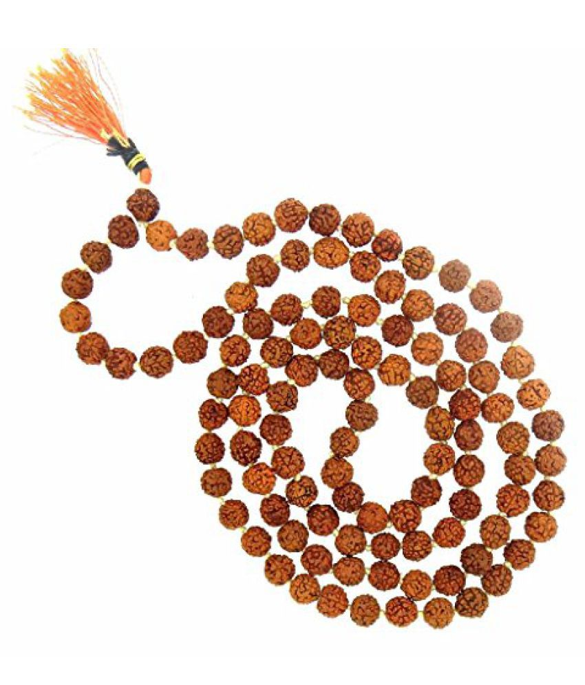 Rudraksha 5 Mukhi RUDRAKSHA JAAP MALA FOR POOJA (ASTROLOGY) (108+1 Beads) 100% Original and Certified By Arihant Gems and Jewels