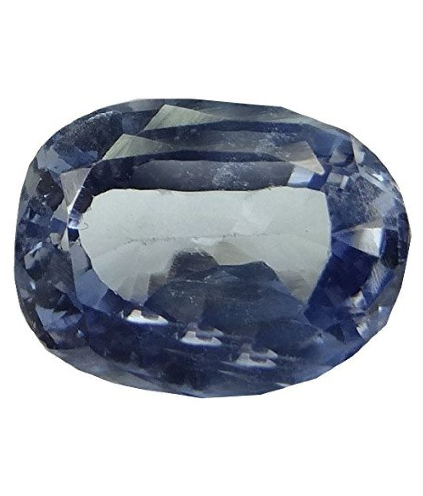 SAPPHIRE 7.9 ct. / 8.77 Ratti PURE & IIGS CERTIFIED SYNTHETIC SAPPHIRE ASTROLOGICAL GEMSTONE BY ARIHANT GEMS AND JEWELS