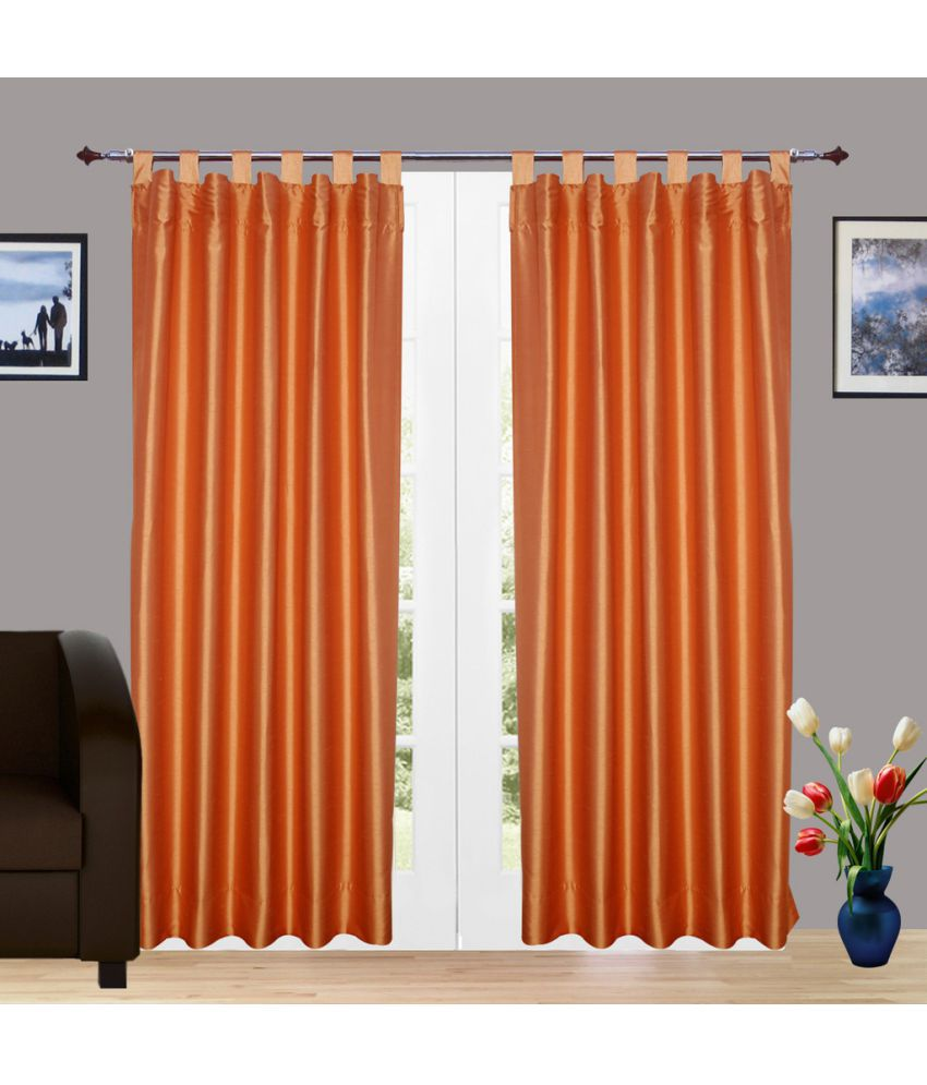 Zycart Set Of 2 Window Tab Top Curtains Solid Orange