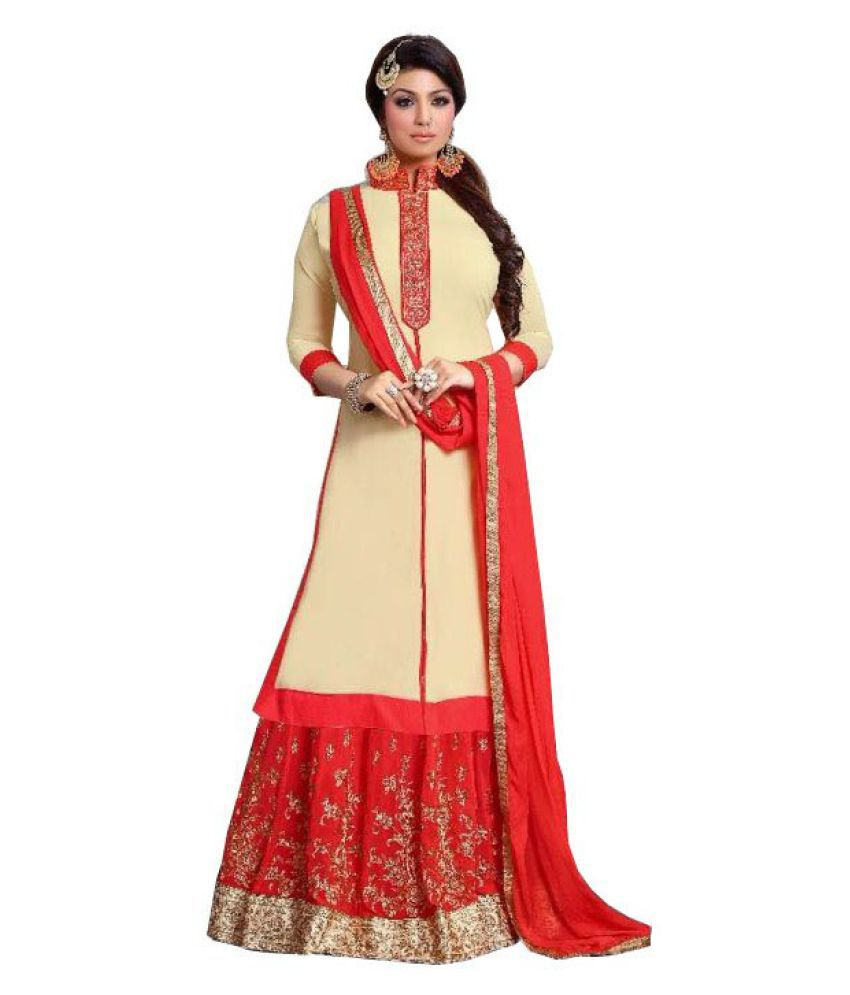 Kalish Beige Georgette Dress Material