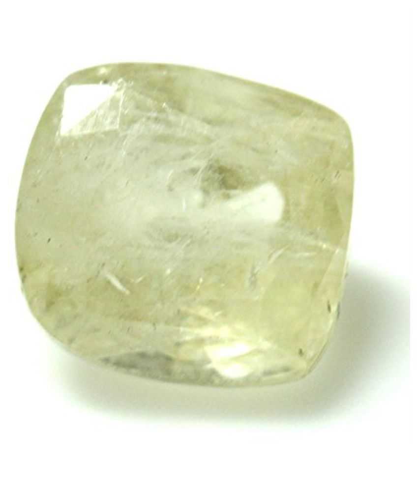 PUKHRAJ LOOSE 100% NATURAL & CERTIFIED 5.31 ct.YELLOW SAPPHIRE BIRTHSTONE BY ARIHANT GEMS AND JEWELS
