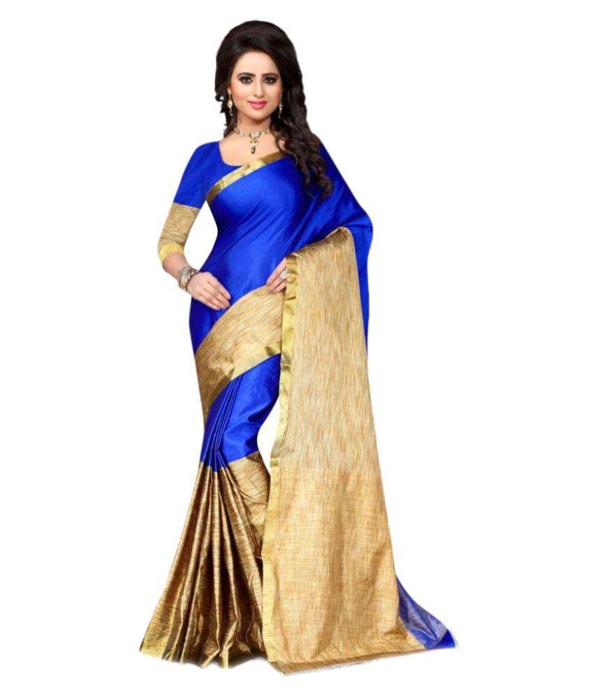 Zelly Creation Blue Art Silk Saree