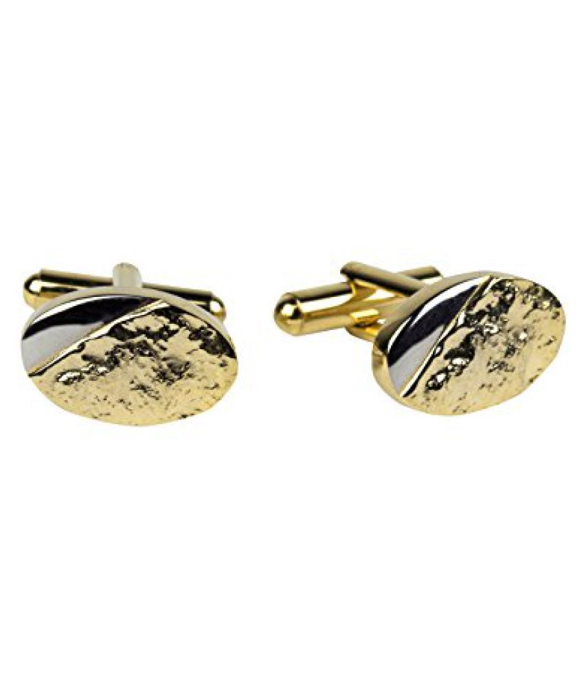 Gildermen Gold and Silver Textured Cufflinks for Men_GMCP178