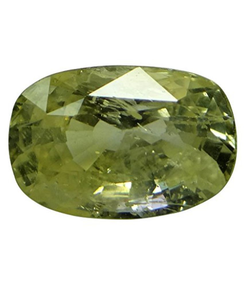 PUKHRAJ LOOSE 100% NATURAL & CERTIFIED 4.99 ct. YELLOW SAPPHIRE BIRTHSTONE BY ARIHANT GEMS AND JEWELS