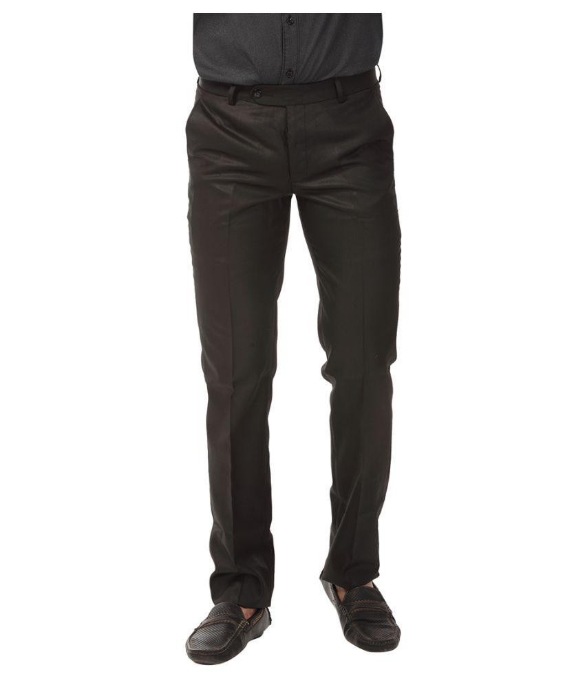 Club Fox Black Regular Flat Trousers